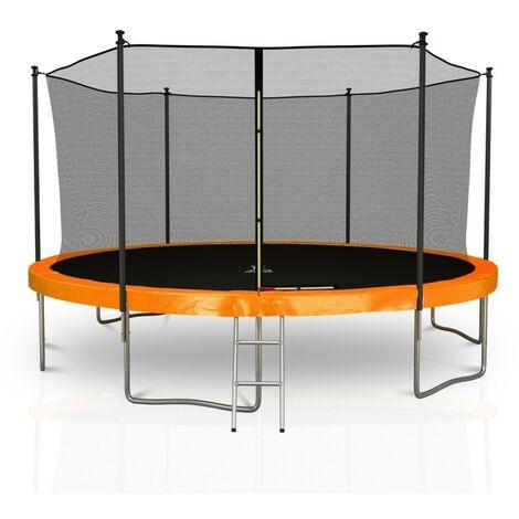 Trampoline extérieur Classique 14Ft / ø424cm KAIA SPORTS Pack trampoline de jardin avec Filet intérieur, mousse de protection, échelle et tapis de saut - choix couleurs