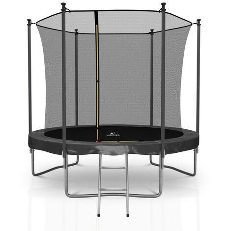 Trampoline extérieur Classique 8Ft / ø244cm KAIA SPORTS Pack trampoline de jardin avec Filet intérieur, mousse de protection, échelle et tapis de saut