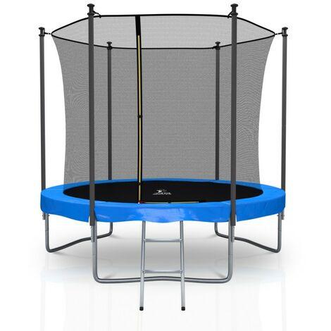 Trampoline extérieur Classique 8Ft / ø244cm KAIA SPORTS Pack trampoline de jardin avec Filet intérieur, mousse de protection, échelle et tapis de saut - Choix couleurs
