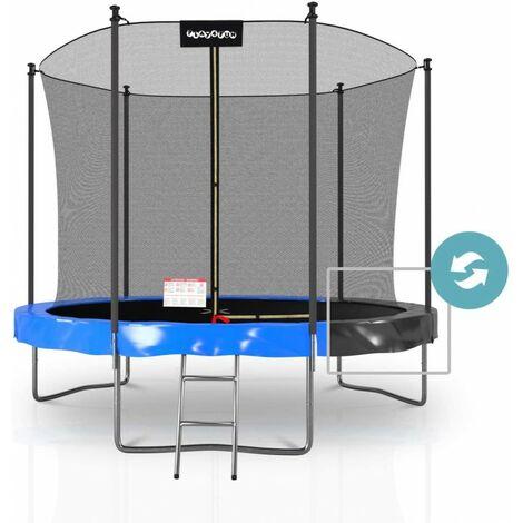 Trampoline extérieur Classique Play4Fun 10Ft - ø305cm - Avec Housse de coussin réversible Bleu / Noir - Bleu / Noir