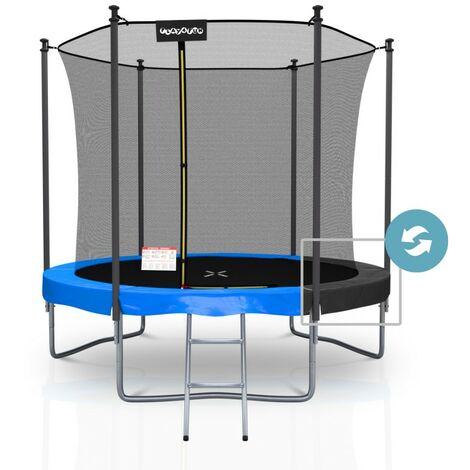 Trampoline extérieur Classique Play4Fun 8Ft - ø244cm - Avec Housse de coussin réversible Bleu / Noir, Echelle, Filet de sécurité, Tapis de saut