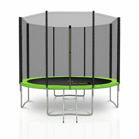 Trampoline extérieur Deluxe 10Ft / ø305cm KAIA SPORTS Pack trampoline de jardin avec Filet extérieur, mousse de protection, échelle et tapis de saut