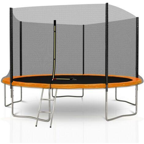 Trampoline extérieur Deluxe 12Ft / ø366cm KAIA SPORTS Pack trampoline de jardin avec Filet extérieur, mousse de protection, échelle et tapis de saut - Choix couleurs