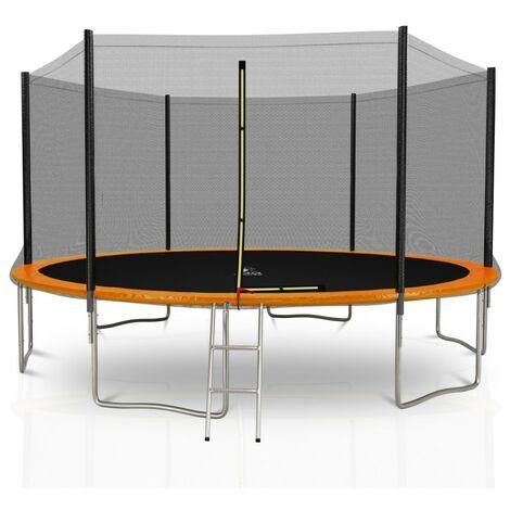 Trampoline extérieur Deluxe 14Ft / ø424cm KAIA SPORTS Pack trampoline de jardin avec Filet extérieur, mousse de protection, échelle et tapis de saut - Choix Couleurs