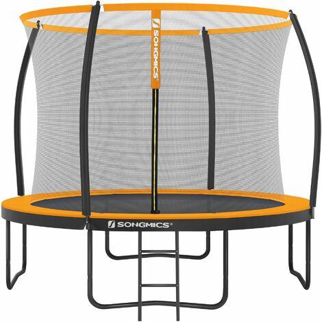 Trampoline extérieur, diamètre 305 cm, Équipement jardin, avec échelle, filet de protection, poteaux recouverts, sécurité testée par le TÜV Rheinland, Noir et Orange STR102O01 - Noir et Orange