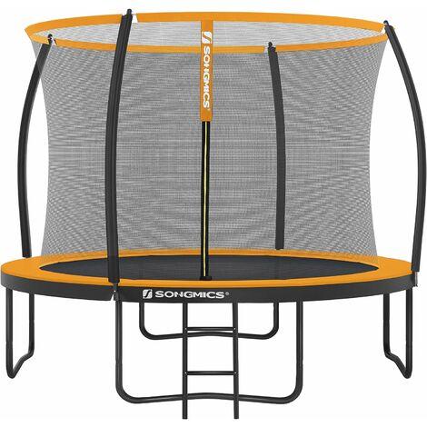 Trampoline extérieur, diamètre 366 cm, Équipement jardin, avec échelle, filet de protection, poteaux recouverts, sécurité testée par le TÜV Rheinland, Noir et Orange STR122O01 - Noir et Orange