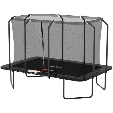 Trampoline extérieur Luxury Rectangle - 244 x 366cm Noir - Pack complet avec Echelle, Tapis de Saut, Matelas de protection et Filet de sécurité