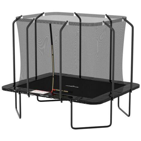 Trampoline extérieur Luxury Rectangle Noir - 244x305cm - avec Echelle, Tapis de Saut, Matelas de protection et Filet de sécurité - Noir