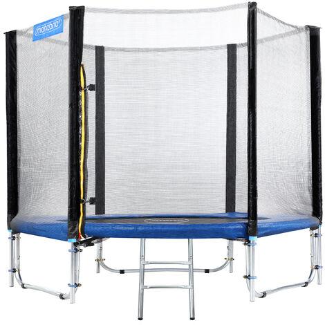 Trampoline extérieur rond Ø244cm max. 150kg set complet filet de sécurité porte d'entrée échelle poteaux trampoline jardin robuste accessoires