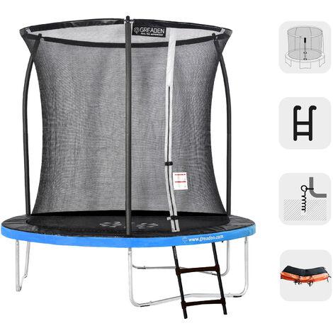 Trampoline extérieur Rond Bleu + Orange 250 + Échelle + Kit d'ancrage fitness Jardin 244cm - Normes EU, Ultra sécurisé