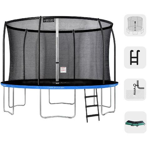 Trampoline extérieur Rond Bleu + Vert 360 + Échelle + Kit d'ancrage fitness Jardin 366cm - Normes EU, Ultra sécurisé