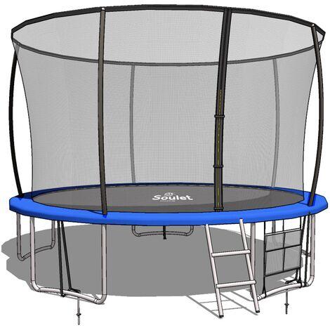Trampoline Extérieur Vert diam. 3,66m ( 12FT) pour Enfants et adultes avec Filets + echelle+ renfort de protection-Soulet