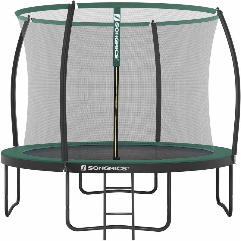Songmics - Trampoline extérieur, diamètre 305 cm, Équipement jardin, avec échelle, filet de protection, poteaux recouverts, sécurité testée par le