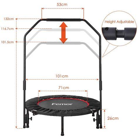 Trampoline Fitness Femor ,Pliable,Poignée Réglables, Capacité de Charge 150 kg, Ø102cm, pour Intérieur, Jardin,Adulte et Enfant