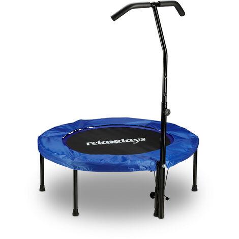 Trampoline intérieur fitness pliable avec poignée barre de maintien HxlxP: 126 x 102 x 107 cm charge maximale: 100 kg, bleu noir