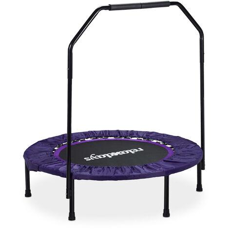 Trampoline intérieur pliable avec poignée barre de maintien charge max. 120 kg HxlxP: 113 x 102 x 102 cm, noir-violet
