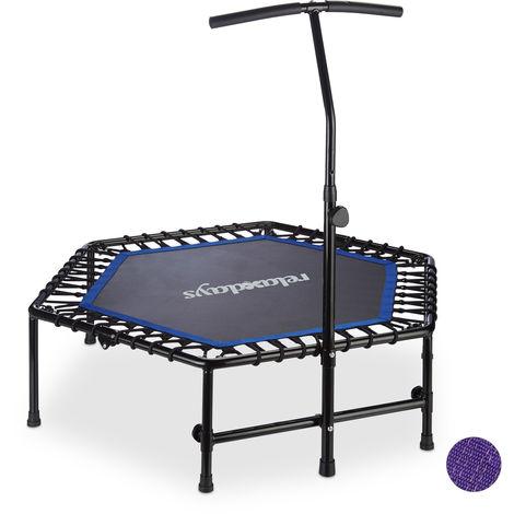 Trampoline intérieur pliable, Barre maintien, Hauteur réglable fitness, 120 kg, noir-bleu