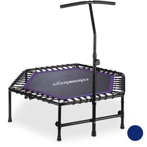 Trampoline intérieur pliable, Barre maintien, Hauteur réglable fitness, 120 kg, noir-violet