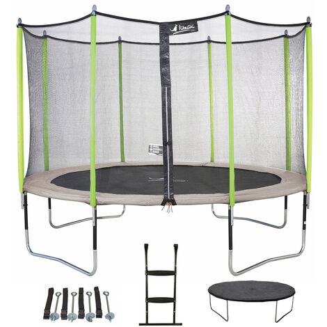 Trampoline JUMPI ZEN - Ø 250 - 305 - 360 - 430 cm + Filet + Échelle + Bâche de protection + Kit d'ancrage