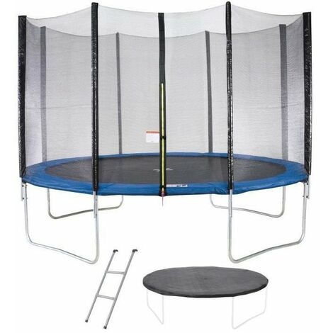 Trampoline MAXI ECO Ø 360 cm Bleu - Avec Filet, Echelle, Couverture de Protection