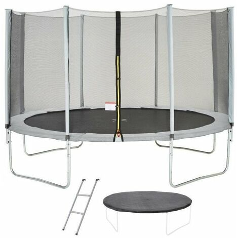 Trampoline MAXI ECO Ø 430 cm Gris - Avec Filet, Echelle, Couverture de Protection