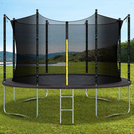 Trampoline pliable gris diamètre 305 cm échelle, filet de sécurité, toile de rebond 64 ressorts