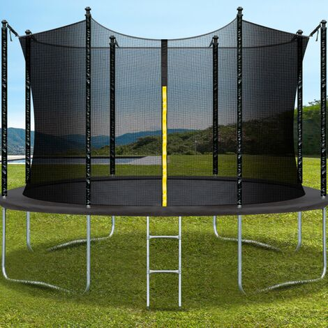 Trampoline pliable gris diamètre 396 cm échelle, filet de sécurité, toile de rebond 80 ressorts