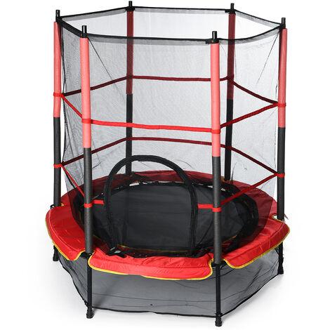 Trampoline pour enfants de 4,5 pieds - filet de cloture avec porte à glissière, aire de jeux pour enfants à domicile, coque de tapis de sécurité pour le saut extérieur / intérieur (roulement: 50 kg)