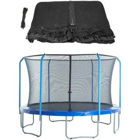 8ft Trampoline Replacement Enclosure Surround Safety Net | Protective Top Ring System Netting Compatible with 3 Curved (Bent) Poles