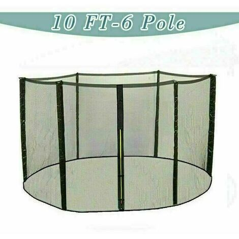 Trampoline Replacement Safety Net Enclosure Surround Netting - 10ft / 6 Pole