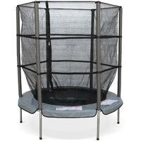 Trampoline rond Ø 140cm gris - Callisto - Filet de protection et véritables ressorts, petit trampoline 1,40m jardin