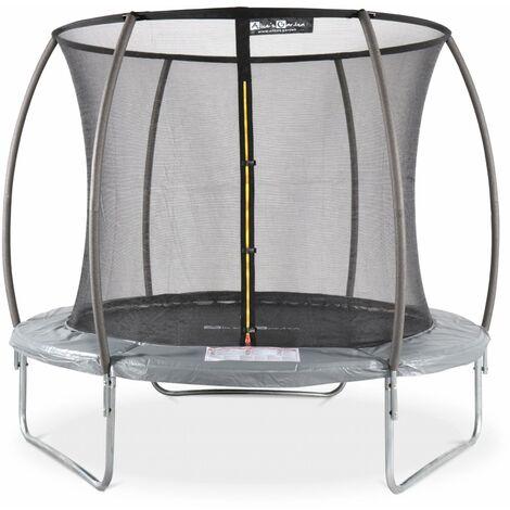 Trampoline rond Ø 250cm gris avec filet de protection intérieur - Pluton Inner – Nouveau modèle - trampoline de jardin 2,50 m 250 cm |Qualité PRO. | Normes EU.