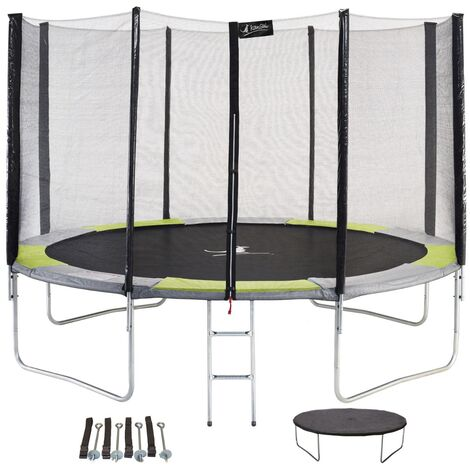 Trampoline rond Ø300cm avec filet, échelle, bâche et kit d'ancrage - RALLI 300 - Vert