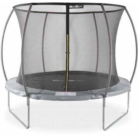 Trampoline rond Ø 305cm gris avec filet de protection intérieur - Mars Inner – Nouveau modèle - trampoline de jardin 3,05m 305 cm |Design | Qualité PRO | Normes EU