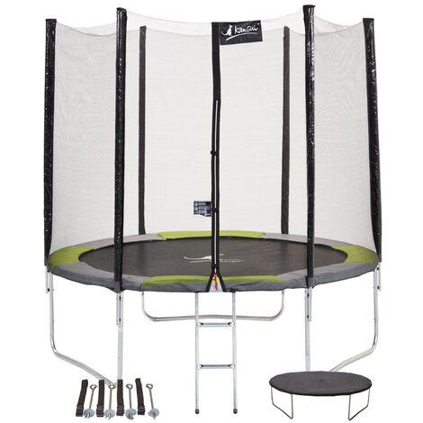 Trampoline rond Ø360cm avec filet, échelle, bâche et kit d'ancrage - RALLI 360 - Vert