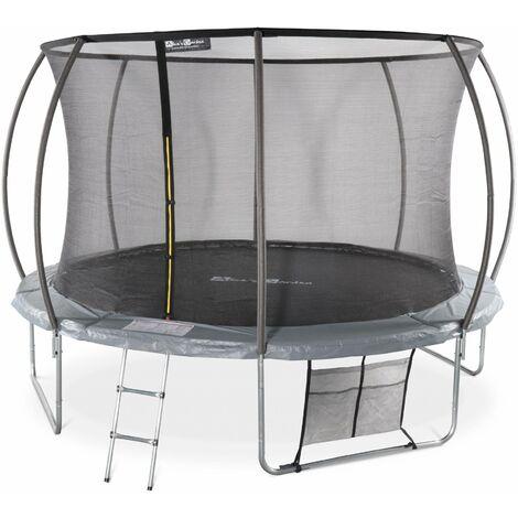 Trampoline rond Ø 370cm gris - Saturne Inner XXL – trampoline de jardin avec filet de protection intérieur, échelle, bâche, filet pour chaussures et kit d'ancrage