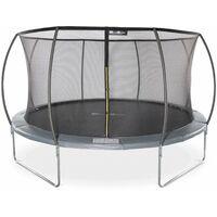 Trampoline rond Ø 430cm gris avec filet de protection intérieur - Venus Inner trampoline de jardin 4,30m 430 cm