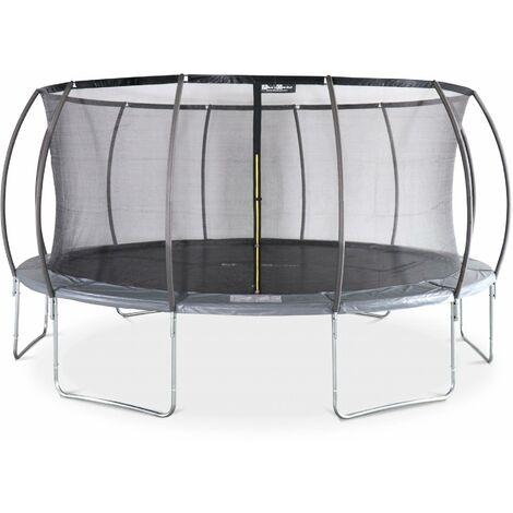 Trampoline rond Ø 490cm gris avec filet de protection intérieur - Jupiter Inner – Nouveau modèle - trampoline de jardin 4,90m 490 cm |Design | Qualité PRO | Normes EU