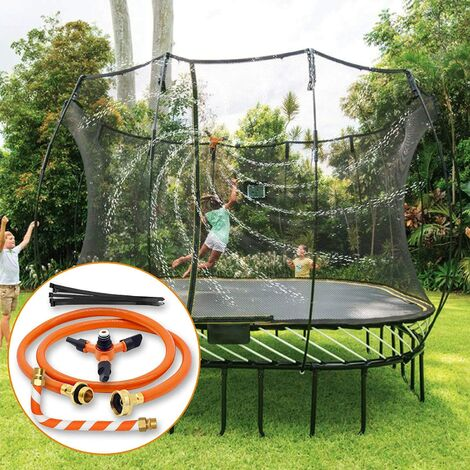 """main image of """"Trampoline Sprinkler for Kids, Outdoor Trampoline Water Play Sprinklers Accessories, Long Trampoline Spray Water Park for Backyard Summer Water Play Toys Games for Boys and Girls"""""""