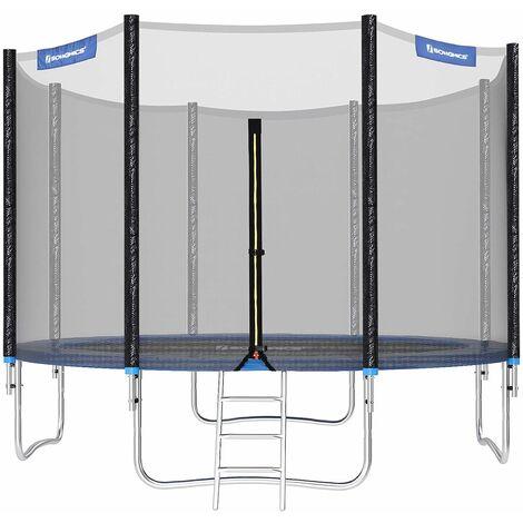 Trampoline TÜV Rheinland GS Ø366cm Certificate 12ft Complete set With Safety Enclosure Net Ladder Trampolin pad Bounce Mat STR124 - Blue