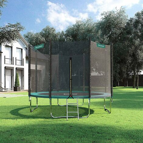 Trampoline TÜV Rheinland GS Certificate 10 ft Complete set With Safety Enclosure Net Ladder Trampolin pad Bounce Mat Ø 305 cm, Black and Green STR10GN - Black and Green