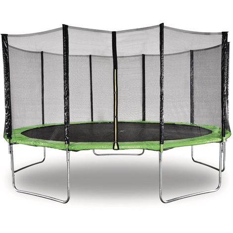 """Trampoline """" Yoopi """" - Ø 4.60 m - Vert - Avec filet + échelle + couverture + kit d'ancrage"""