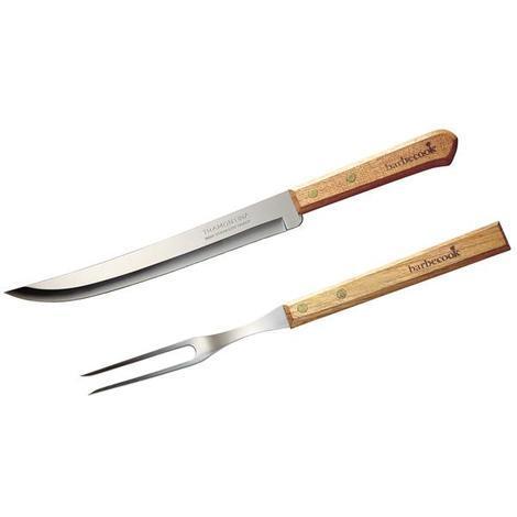 Tranchierset barbecook Messer und Gabel Edelstahl Holz 33cm