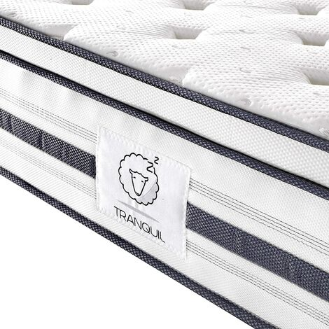 TRANQUIL Hybrid Mattress with Euro Top TRA-03, 7-Zone Pocket Spring and Memory Foam