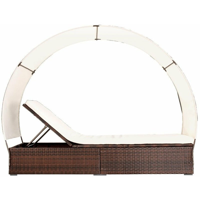 Transat bain de soleil lit de jardin chaise longue rotin luxe avec pare  soleil marron