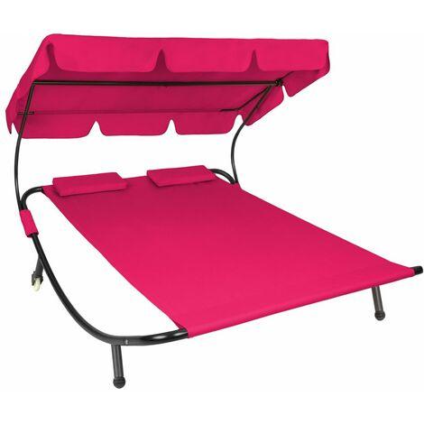 Transat bain de soleil meuble jardin 2 places rose - Rose