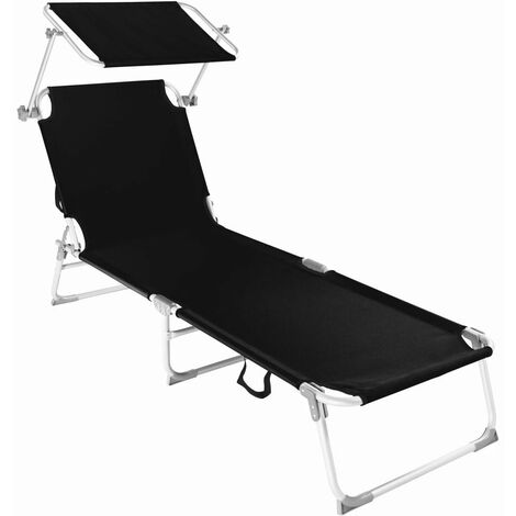 Transat bain de soleil meuble jardin aluminium noir