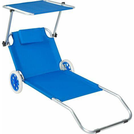Transat bain de soleil meuble jardin avec roulettes bleu - Bleu