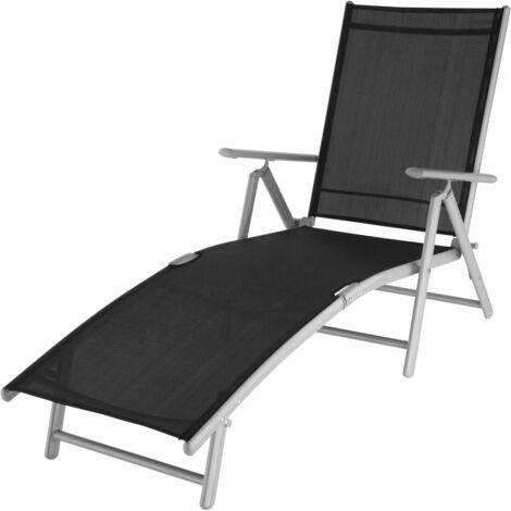 Transat bain de soleil meuble jardin noir/gris
