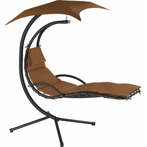 Transat bain de soleil meuble jardin suspendu marron - Marron